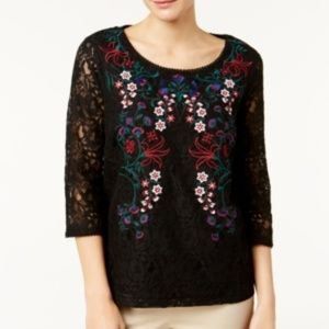 Charter Club Floral Embroidered Lace Scoop Blouse